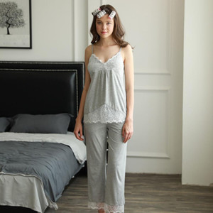 Sonbahar ve kış yeni pamuk Koreli kadın rahat kıyafet göğüs pedi ev pijama 3 set pijamalar