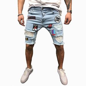 Mens refroidissent Styliste bleu Denim Short Skinny Ripped Destroyed extensible Hop Hop Pants avec des trous pour les hommes