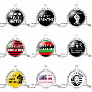 DHL Shipping I Can't Breathe Necklaces American Black Lives Matter Pendant Necklace for Women Men Statement Necklace Charm Jewelry Gift H24A
