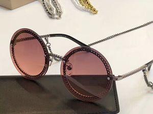 Moda Rodada Sunglasses cadeia colar vidros de sol Moda feminina óculos de sol Shades novo com caixa