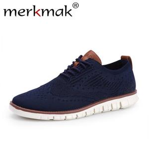 Merkmak Casual Örme Mesh Erkek Ayakkabı Katı Sığ Lace Up Hafif Yumuşak Erkekler Sneakers Ayakkabı Nefes Man Ayakkabı