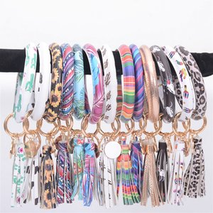 Tassel Bracelets Keychain PU Leather Leopard Sunflower Floral Wristlet Bracelet Round Bangle Key Ring Fashion Accessories OOA8034