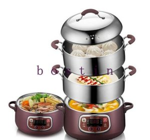 New 2-layer Electric Steamer Anti-dry Multifunctional Stainless Steel Steamer For Home Appointable Multifunction Breakfast Maker 220V