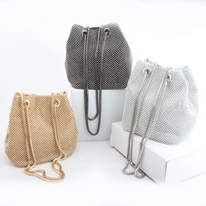 New Evening Bag Super Shiny Diamond High-End Banquet Net Red Bucket Bag Clutch Ins Single Shoulder