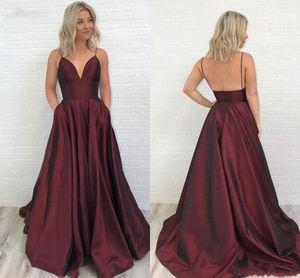 Sexy Спагетти Длинного Пром Dreses с размером Pocket Plus темно-красной Линией Backless атласной длиной до пола Вечерних платьев дешевых