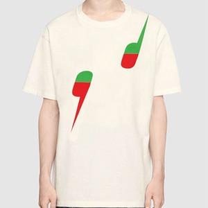 19SS الطباعة المحملة الصيف صنع في إيطاليا رجال أزياء ذات جودة عالية بيج اللون الأسود القطن زوجين عارضة المرأة T-shirt جديد نمط HFLSTX403
