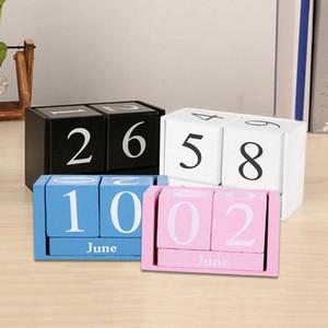 Planner DIY Desktop Living Room Gifts Wood Block Wood Calendar Reusable Home Office Decor Desk Decoration Month Date Display