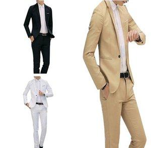 2020 Hot sale New Male Wedding Prom Suit Khaki White Black Slim Fit Tuxedo Men Formal Business 2Pcs Work Wear Suits A52