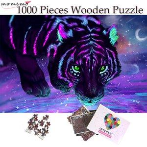 MOMEMO 형광 호랑이 퍼즐 1000 개 조각 나무 색상 미술 회화 직소 퍼즐 장난감 성인 청소년 어린이 홈 인테리어 선물 Y200421