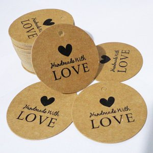 Fatto a mano con amore Kraft Tag regalo Round Packing Gift Hang Tag Kraft Paper Tag Label Cards 400pcs