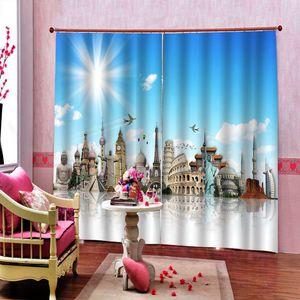 Dijital Baskı Stereo Blackout Perde İçin Oturma odası Yatak odası 3d mavi gökyüzü altında Özelleştirilmiş Parlak şehir binaları Kapalı Decor perdeler