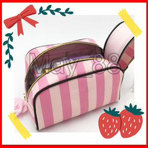 Famous Brand Sercret Cosmetic Bags Big Storage High Quality Makeup Bags stripe Bags With Free epacket Shipping