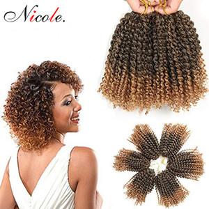 Nicole Hair 8Inch 3pcs pack Mali BoB Ombre Burgundy T30 27 Bug Blonde Marly Braid Synthetic Braiding Hair Malibob Crochet Hair Extensions