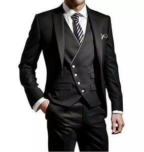 Homens negros ternos de casamento Prom Ternos noivo doivo Tuxedo traje homme mariage groomsmen homem blazers jaqueta 3 peças magras fit terno masculino