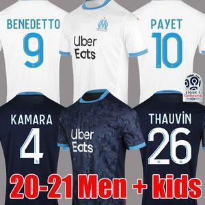 ÜST Tayland 20 21 Olympique De Marseille soccer jersey football shirt futbol forması OM formalar 2020 2021 maillot de ayak PAYET GUSTAVO THAUVIN üniformaları erkek çocuklar