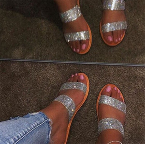Summer Rhinestone Flats Ladies Sandals Casual Beach Slippers High Quality Fashion PH-CFY20061842