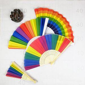 Rainbow Hand Held Fan para la decoración del partido Plástico plegable Dance Fan Gift Party Favor DHL SHIp HH9-2294