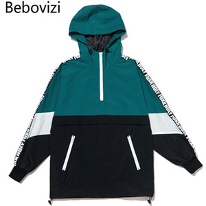 Bebovizi Marca Hip Hop Uomini Streetwear Color Block Patchwork Jacket Coats Coppie casuali Pullover con cappuccio Giacche Zipper Tuta