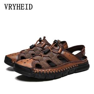 VRYHEID Classic Men Soft Sandals Comfortable Non-Slip Men Summer Leather Sandals Roman beach shoesCasual Big Size38-46