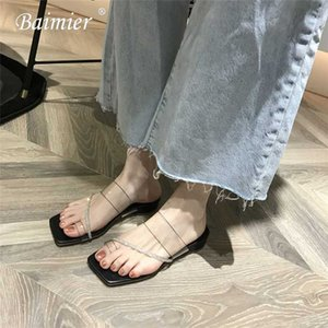 2020 Fashion Open Toe Sandals Women Transparent PVC Mules Outdoor Slipper Women Gladiator Beach Sandals Open Toe
