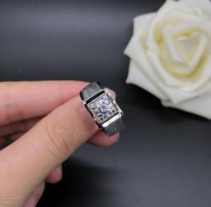 ForeverBeauty Luxo Moer Anel Arenaceous 1CT Anel de Diamante Com Sólido 925 Anel de Prata Banhado a Ouro 18k Homens Anéis de Casamento