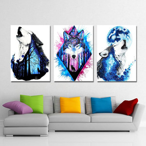 Modular Canvas HD Prints Paintings Home Decor 3 Pieces Animals Wolves Pictures Abstract Posters Living Room Wall Art Framework