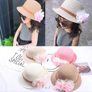 al por mayor de verano para niños florales sombreros de paja sombrero de Fedora niños visera Beach Sun bebés Sunhat de disquete Ala Panamá muchacha para