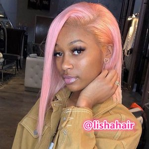 LISHAHAIR LIGHT PINK COLORED HUMAN HAIR SIDE PART STRAIGHT BOB LACE FRONT WIG LS1263