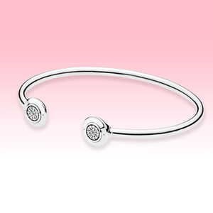 Braccialetti aperti dell'argento sterling 925 braccialetti delle donne delle donne gioielli estivi per il braccialetto del bracciale della polsino del diamante di Pandora CZ con il set di scatola originale