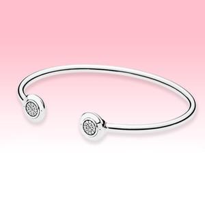 925 Sterling Silver Open Bangle Bracelets Women Girls Summer Jewelry for Pandora CZ diamond Pave Cuff Bracelet with Original box set