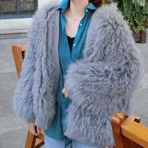 OFTBUY 2019 Yeni Moda Gerçek Kürk Kış Ceket Kadınlar Doğal Dokuma Koyun Yün Kürk Dış Giyim Gevşek Streetwear Kalın Sıcak