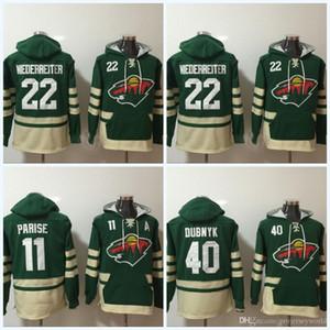 Mens' Minnesota Wild pullover # 22 Nino Niederreiter # 11 Zach Parise # 40 Devan Dubnyk con cappuccio maglione hokey Jersey Trasporto libero