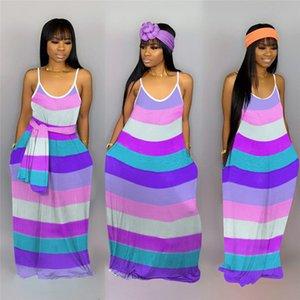 2020 Striped Vestidos Rainbow Color Sexy deslizamento Verão Mulheres de vestido das senhoras lápis Bodycon Vestido tornozelo-comprimento saias Maxi Vestidos S-XXL E22701