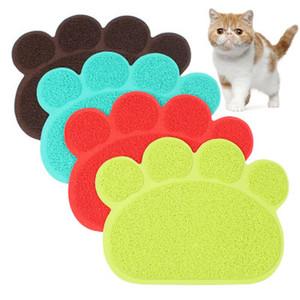 Pet Köpek Yavru Kedi Besleme Mat Pad Sevimli Paw PVC Yatak Bulaşık Bowl Gıda Su Besleme Placemat Temiz Pet Kedi Köpek Aksesuarları Yeni Wipe