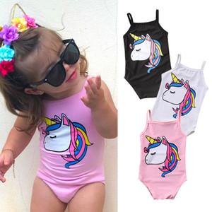 Los niños del niño recién nacido del bebé del unicornio de baño de una pieza del traje de baño traje de baño de la playa del traje de baño ropa Negro Blanco Rosa
