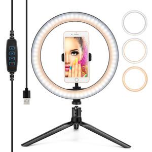 Luz de anillo LED Selfie, regulable belleza USB ajustable3 luces de color 10 pulgadas trípode Ringlight con soporte de teléfono para streaming Estudio de maquillaje