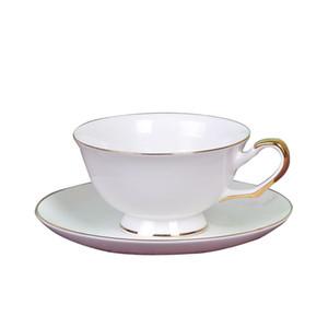 bord d'or porcelaine blanche Tasse de café avec soucoupe, porcelaine élégante tasse de café tasse de thé l'après-midi tasses européennes tasses de thé noir