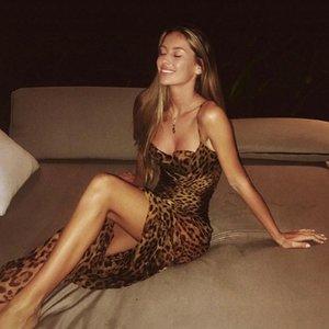 impresión atractiva tirantes sin respaldo Mujeres Vestidos vestido de leopardo retro del vestido de noche de la falda larga con cuello en V de primavera y verano temperamento de la manera