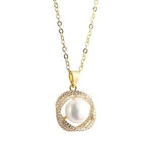 Normcore Femmes Perle Pendentif Colliers pour Femme En Laiton Or Plaqué Blanc Cubique Zircone Collier Dropshipping SP247