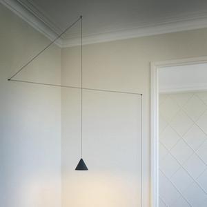 Modern forma pendant luzes Black Metal longo fio Cone DIY luminária Ilha de cozinha Hanging lâmpada de cabeceira de iluminação de suspensão