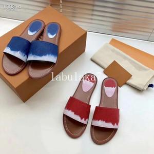 2020 Tie-dye zapatilla verano playa flip flop azul rojo rosa para mujer sandalias casuales de las mujeres de interior antideslizante deportes holgazán con caja
