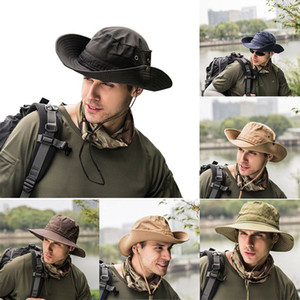 Fashion Summer Men Bucket Boonie Hats Casual Solid Outdoor Fishing Wide Brim UV Protection Cap Hat Adult 6 Colors