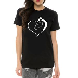 Impresso cavalo do coração amor camisetas Mulheres mangas curtas O pescoço engraçado mulheres camisetas Streetwear Verão Tops 2020 Camiseta Femme