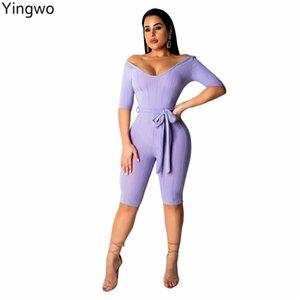 Violet / Jaune / Rose / Noir Demi Manches Col V Ceinture Genou Longueur Bodycon Jumpsuit New Street Mode Femme Maigre Barboteuse En Ligne