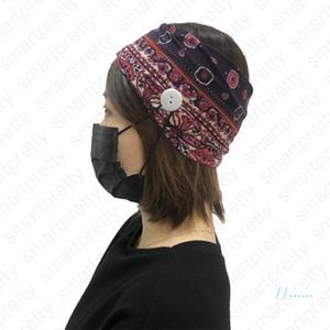 Kızlar Saç Aksesuarları DHL D41601 için Maske Spor Yoga Egzersiz Yumuşak Düğme Saç Dantel olan kadınlar Elastik Baskılı Karşıtı Kulak Headbands