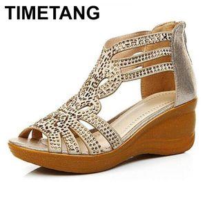 TIMETANG2020 New Summer Roman Sandals Women Fashion Rhinestone Wedges Casual Sandals Gold Zipper Platform Women