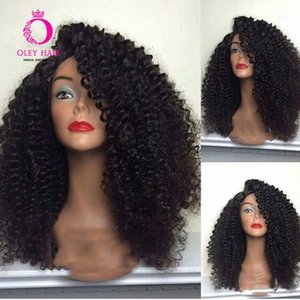 OLEY Hair Black Wig Glueless Synthetic Lace Front Wig Sidepart Heat Resistant Afro Kinky Curly Cosplay Wigs For Black Women