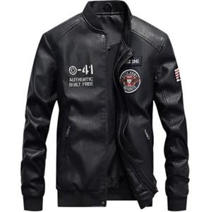 Ceket Sonbahar Standı Yaka Uzun Kollu Tasarımcı Erkek Deri Mont Erkek Epaulet Baskılı Coats Erkek PU Deri