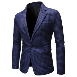 Lapel Neck Formal Homme Blazers Autumn Single Button Male Clothing Spring Mens Plaid Suits Line Printed