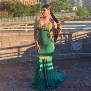 Vintage Dark Green Mermaid Prom Dresses Spaghetti Strap Gold Appliques Sleeveless Back Evening Gown Satin Homecoming Party Dress